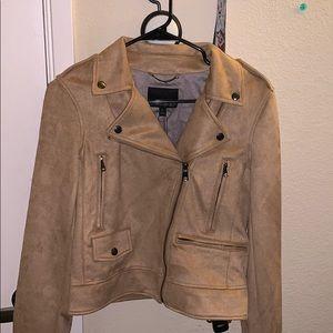 Banana republic suede motorcycle jacket tan